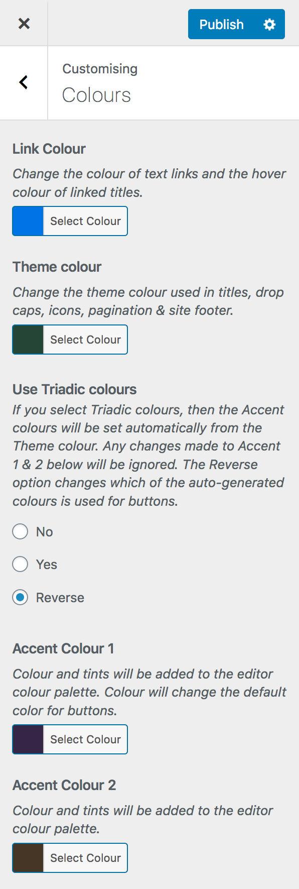colours selector