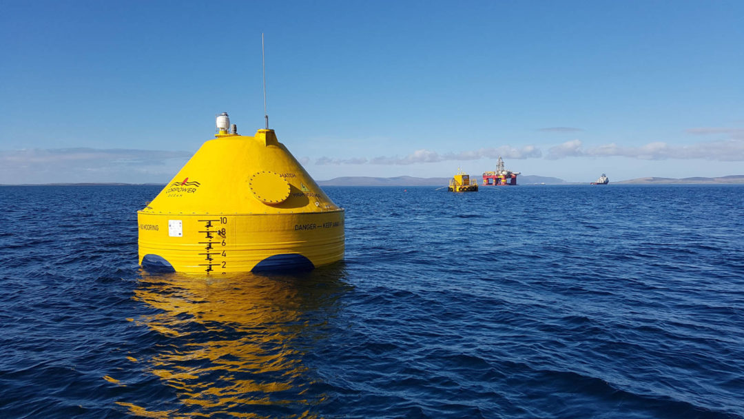The CorPower C3 wave energy device in Scapa Flow, Orkney